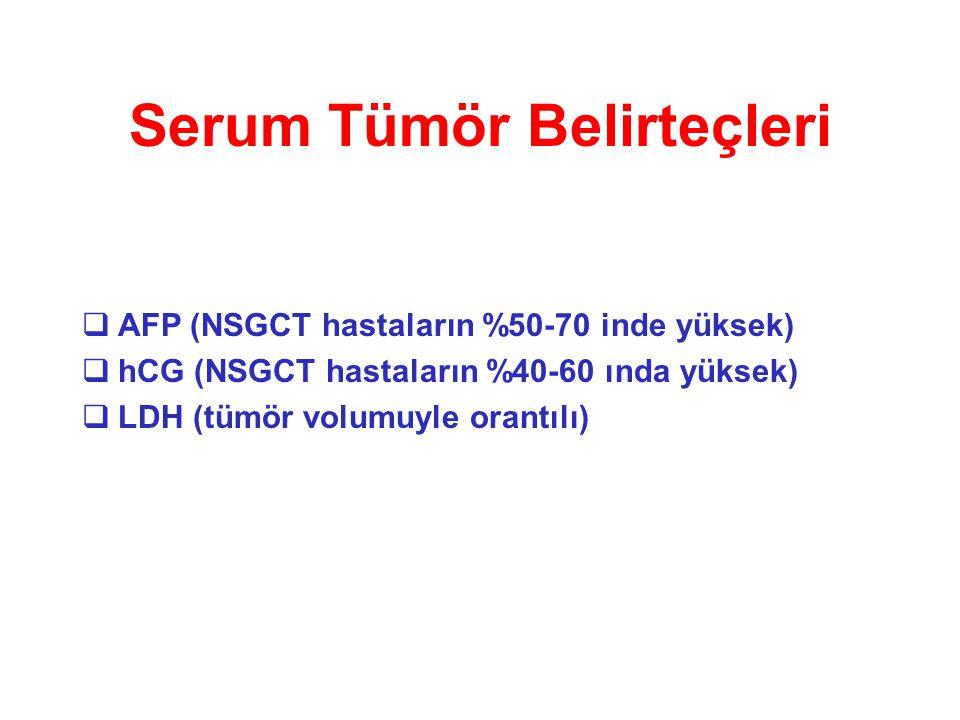 Serum Tümör Belirteçleri  AFP (NSGCT hastaların %50-70 inde yüksek)  hCG (NSGCT hastaların %40-60 ında yüksek)  LDH (tümör volumuyle orantılı)