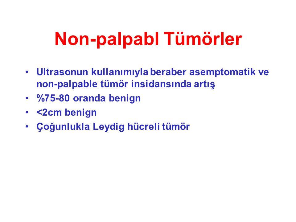 Non-palpabl Tümörler Ultrasonun kullanımıyla beraber asemptomatik ve non-palpable tümör insidansında artış %75-80 oranda benign <2cm benign Çoğunlukla