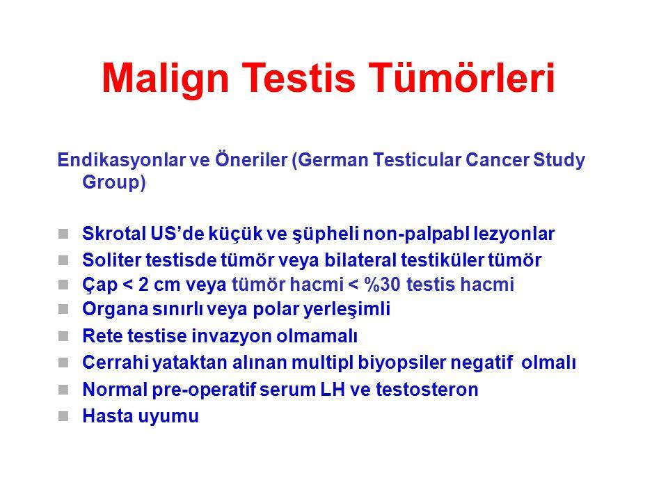 Malign Testis Tümörleri Endikasyonlar ve Öneriler (German Testicular Cancer Study Group) Skrotal US'de küçük ve şüpheli non-palpabl lezyonlar Soliter