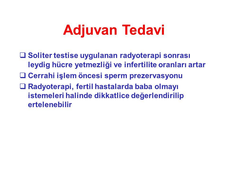 Adjuvan Tedavi  Soliter testise uygulanan radyoterapi sonrası leydig hücre yetmezliği ve infertilite oranları artar  Cerrahi işlem öncesi sperm prez
