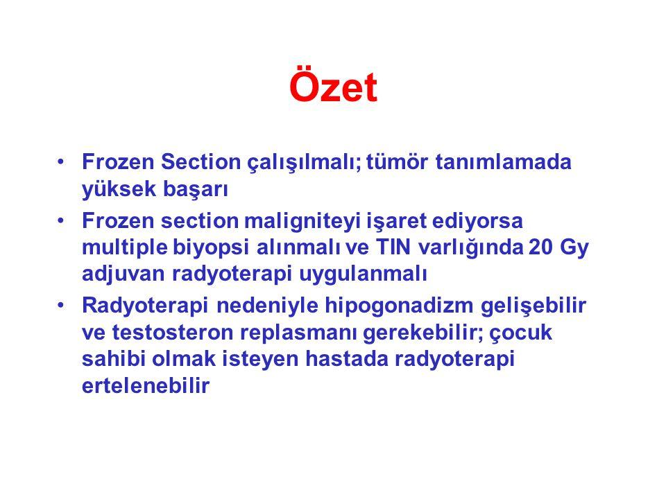 Özet Frozen Section çalışılmalı; tümör tanımlamada yüksek başarı Frozen section maligniteyi işaret ediyorsa multiple biyopsi alınmalı ve TIN varlığınd