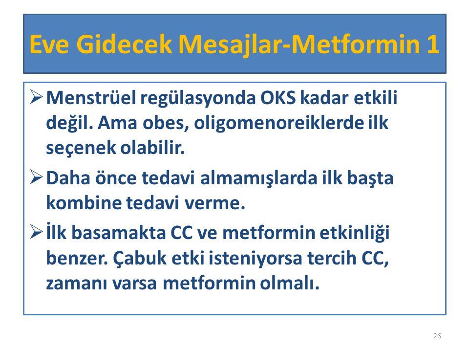 Eve Gidecek Mesajlar-Metformin 1  Menstrüel regülasyonda OKS kadar etkili değil. Ama obes, oligomenoreiklerde ilk seçenek olabilir.  Daha önce tedav