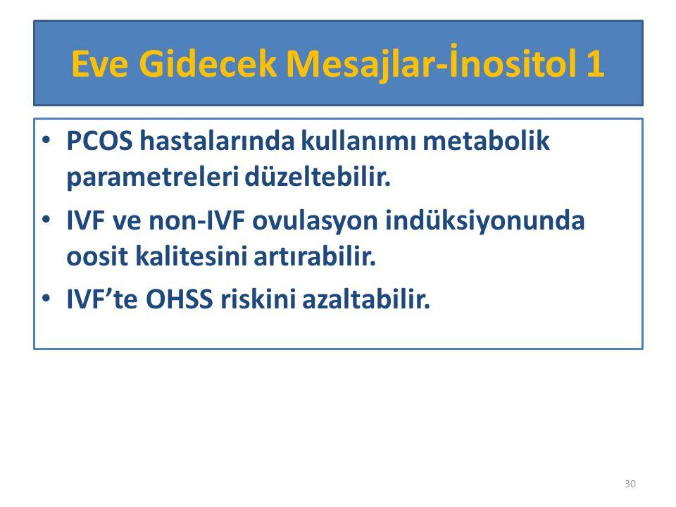 PCOS hastalarında kullanımı metabolik parametreleri düzeltebilir. IVF ve non-IVF ovulasyon indüksiyonunda oosit kalitesini artırabilir. IVF'te OHSS ri