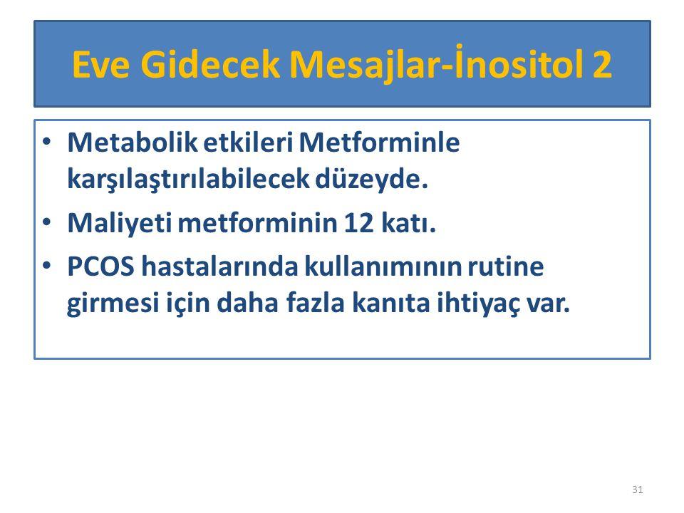 Metabolik etkileri Metforminle karşılaştırılabilecek düzeyde. Maliyeti metforminin 12 katı. PCOS hastalarında kullanımının rutine girmesi için daha fa