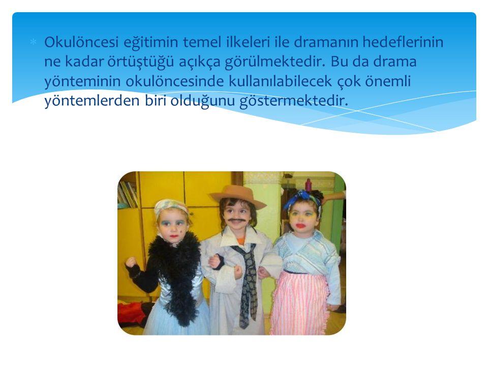  Okulöncesi eğitimin temel ilkeleri ile dramanın hedeflerinin ne kadar örtüştüğü açıkça görülmektedir. Bu da drama yönteminin okulöncesinde kullanıla