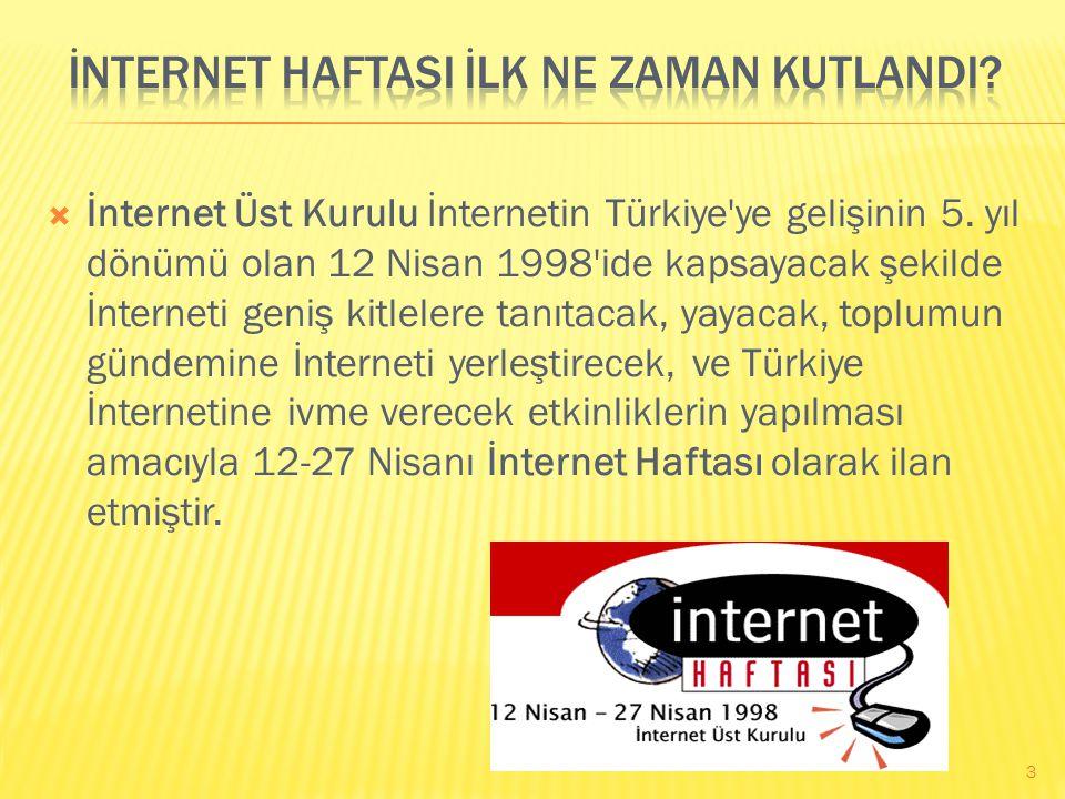  İnternet Üst Kurulu İnternetin Türkiye ye gelişinin 5.
