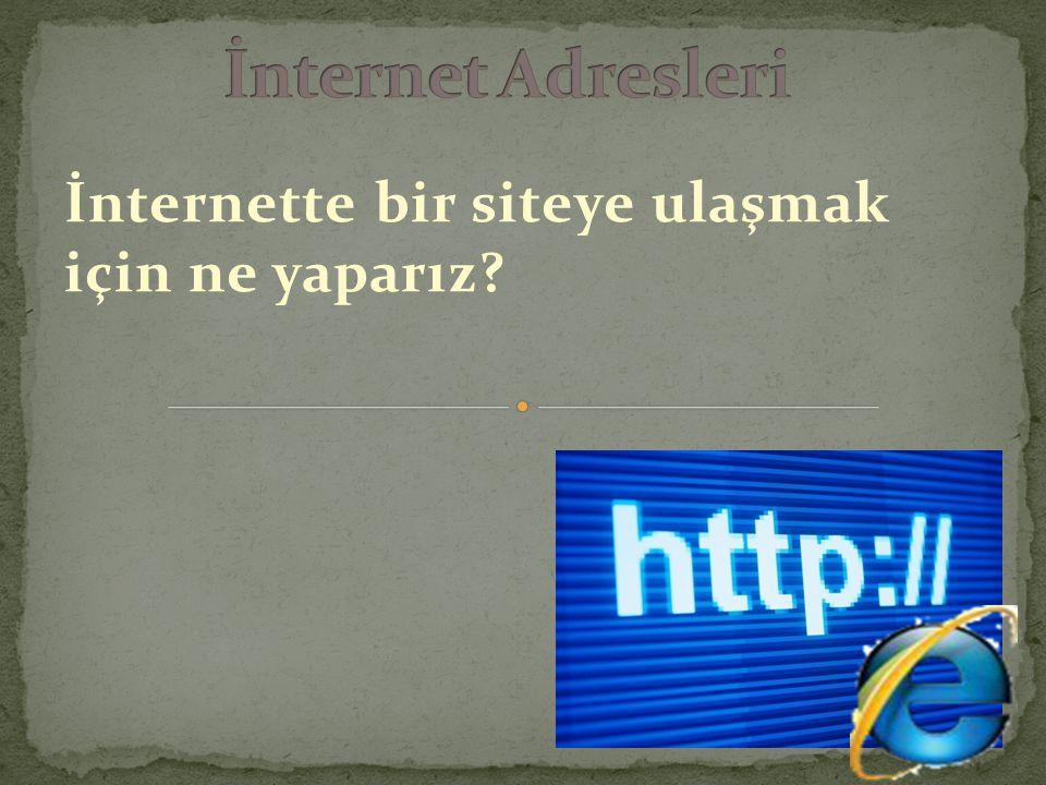İnternette bir siteye ulaşmak için ne yaparız?