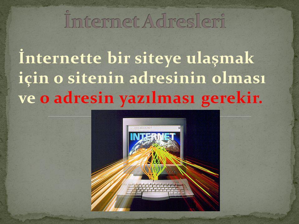 İnternette bir siteye ulaşmak için o sitenin adresinin olması ve o adresin yazılması gerekir.