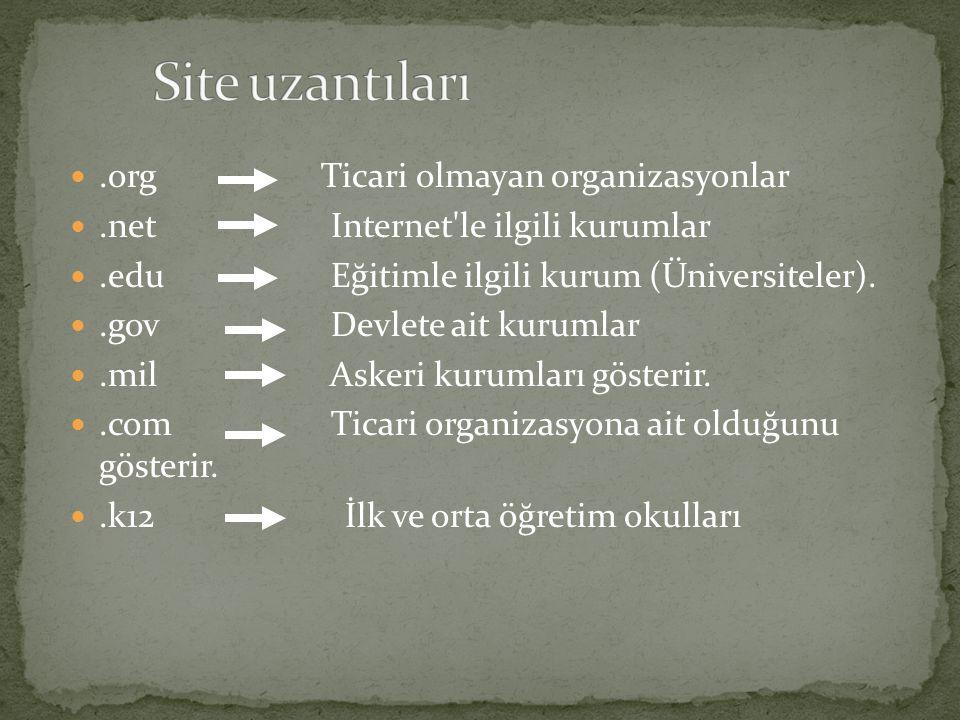 .org Ticari olmayan organizasyonlar.net Internet'le ilgili kurumlar.edu Eğitimle ilgili kurum (Üniversiteler)..gov Devlete ait kurumlar.mil Askeri kur