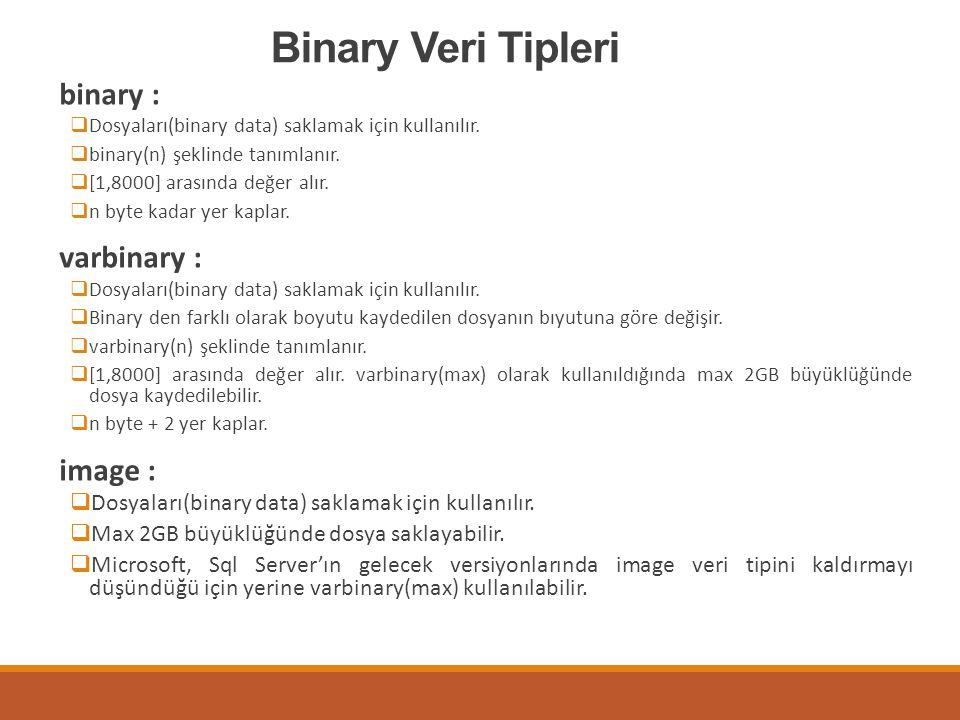Binary Veri Tipleri binary :  Dosyaları(binary data) saklamak için kullanılır.  binary(n) şeklinde tanımlanır.  [1,8000] arasında değer alır.  n b