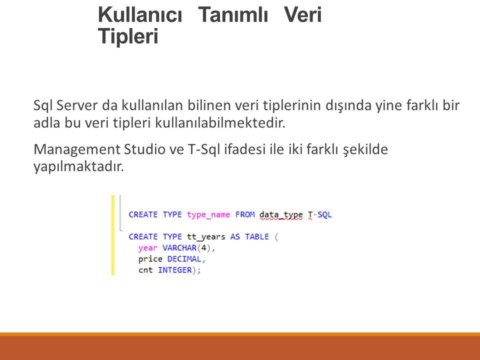 Kullanıcı Tanımlı Veri Tipleri Sql Server da kullanılan bilinen veri tiplerinin dışında yine farklı bir adla bu veri tipleri kullanılabilmektedir. Man