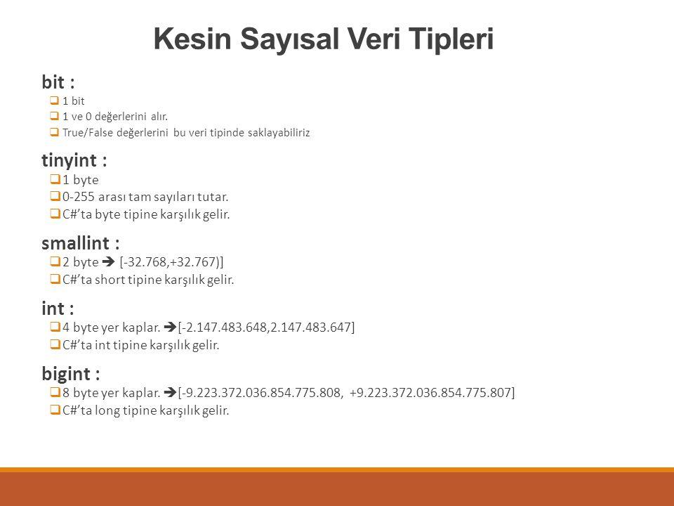 Kesin Sayısal Veri Tipleri bit :  1 bit  1 ve 0 değerlerini alır.  True/False değerlerini bu veri tipinde saklayabiliriz tinyint :  1 byte  0-255