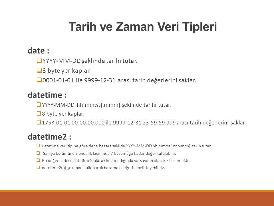 Tarih ve Zaman Veri Tipleri date :  YYYY-MM-DD şeklinde tarihi tutar.  3 byte yer kaplar.  0001-01-01 ile 9999-12-31 arası tarih değerlerini saklar