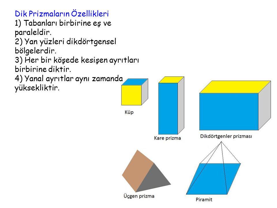 Dik Prizmaların Özellikleri 1) Tabanları birbirine eş ve paraleldir.