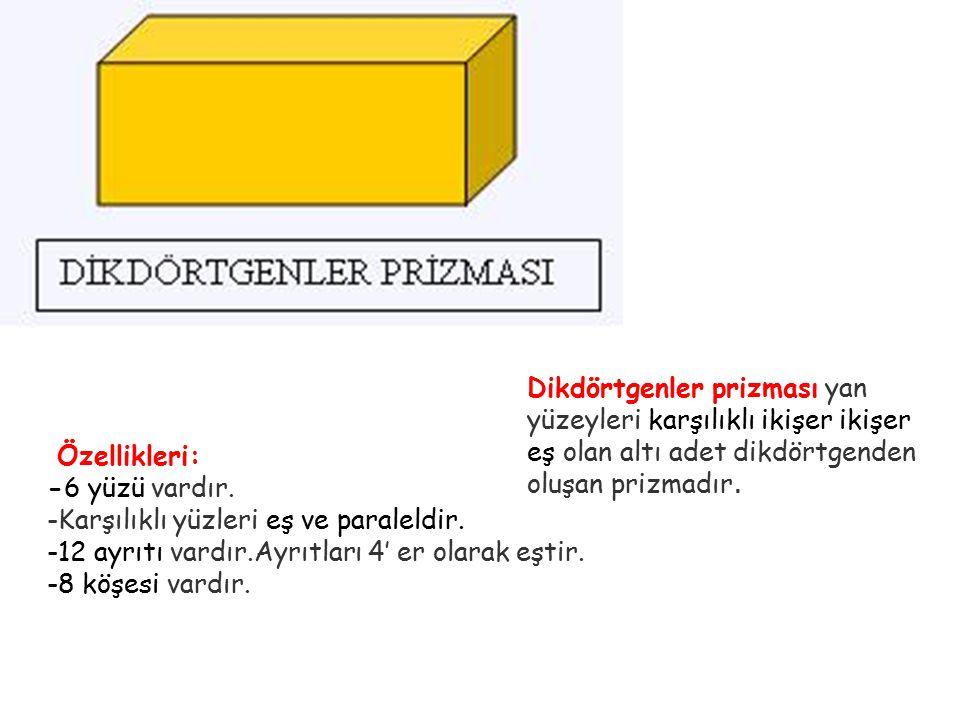 DİKDÖRTGENLER PRİZMASI ALAN =2(a.b+a.c+b.c) a en, b boy, c yüksekliktir. HACİM=a.b.c