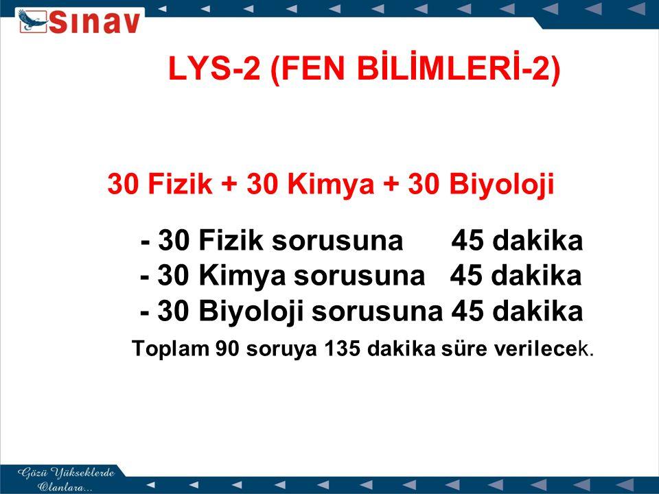 LYS - 1 (MATEMATİK-GEOEMETRİ) 50 Matematik + 30 Geometri - 50 Matematik sorusuna 75 dakika - 30 Geometri sorusuna 60 dakika Toplam 80 soruya 135 dakika süre verilecek..)