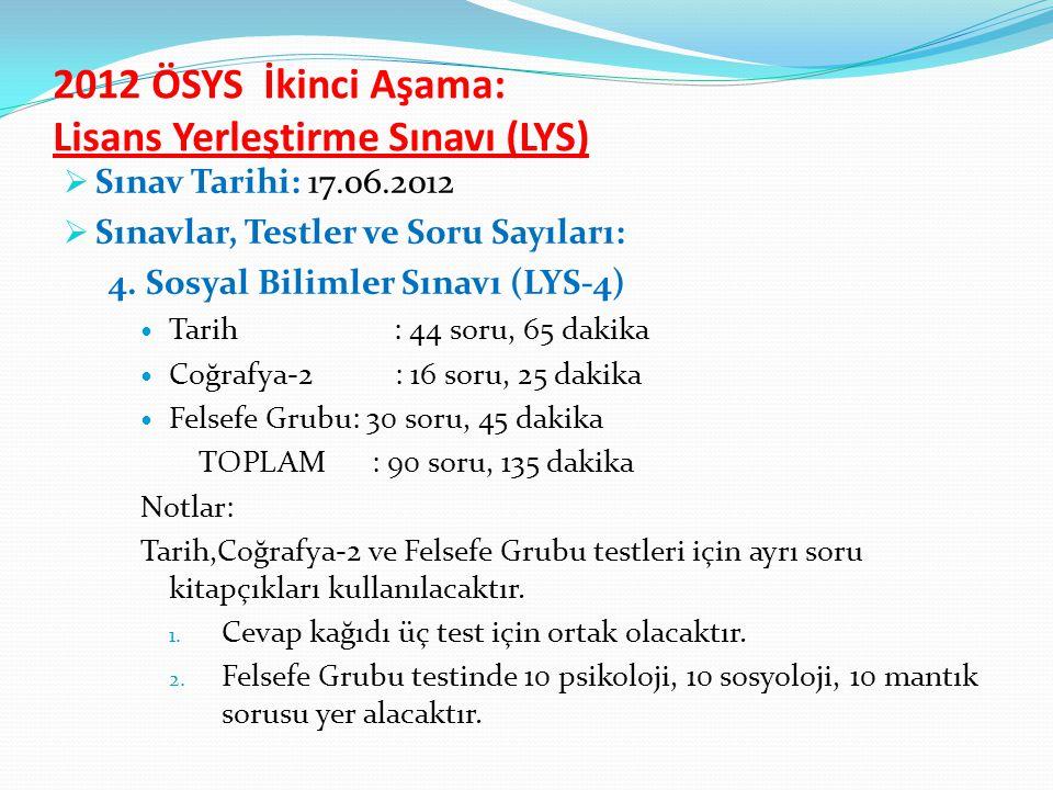 2012 ÖSYS İkinci Aşama: Lisans Yerleştirme Sınavı (LYS)  Sınav Tarihi: 17.06.2012  Sınavlar, Testler ve Soru Sayıları: 4.