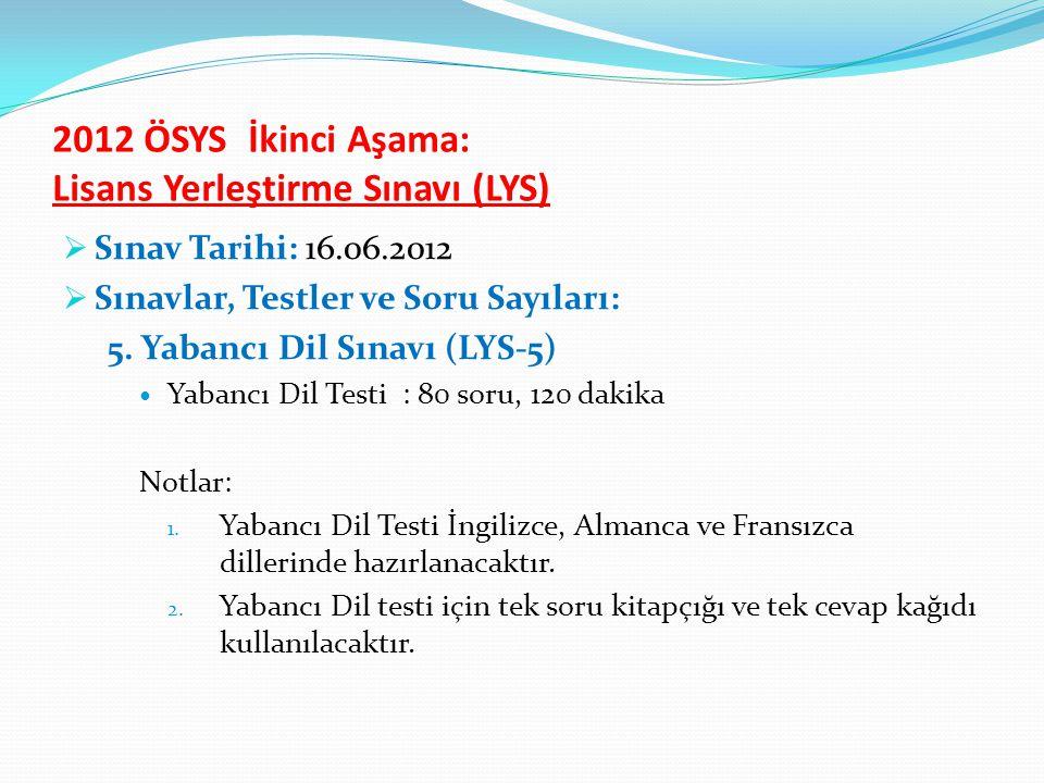 2012 ÖSYS İkinci Aşama: Lisans Yerleştirme Sınavı (LYS)  Sınav Tarihi: 16.06.2012  Sınavlar, Testler ve Soru Sayıları: 5.