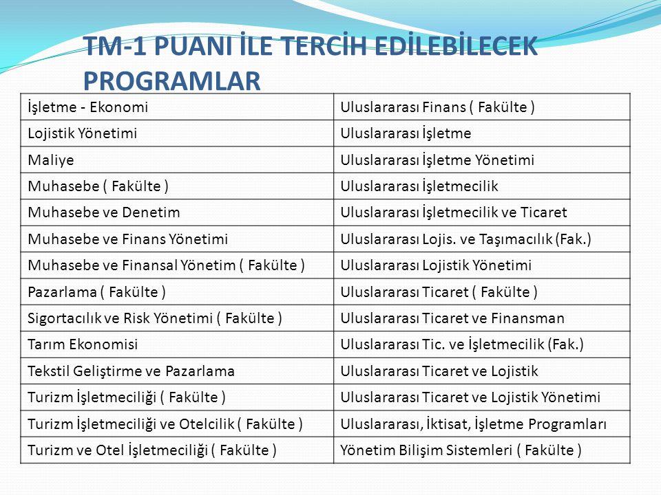 TM-1 PUANI İLE TERCİH EDİLEBİLECEK PROGRAMLAR İşletme - EkonomiUluslararası Finans ( Fakülte ) Lojistik YönetimiUluslararası İşletme MaliyeUluslararas