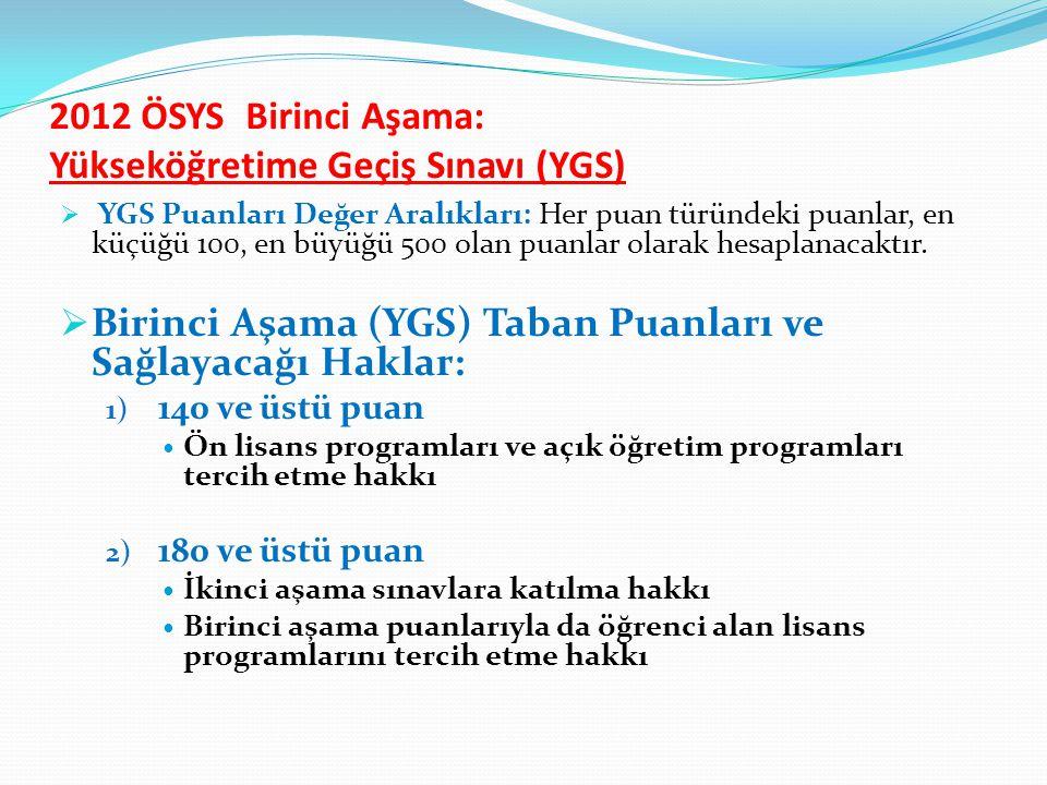2012 ÖSYS Birinci Aşama: Yükseköğretime Geçiş Sınavı (YGS)  YGS Puanları Değer Aralıkları: Her puan türündeki puanlar, en küçüğü 100, en büyüğü 500 olan puanlar olarak hesaplanacaktır.