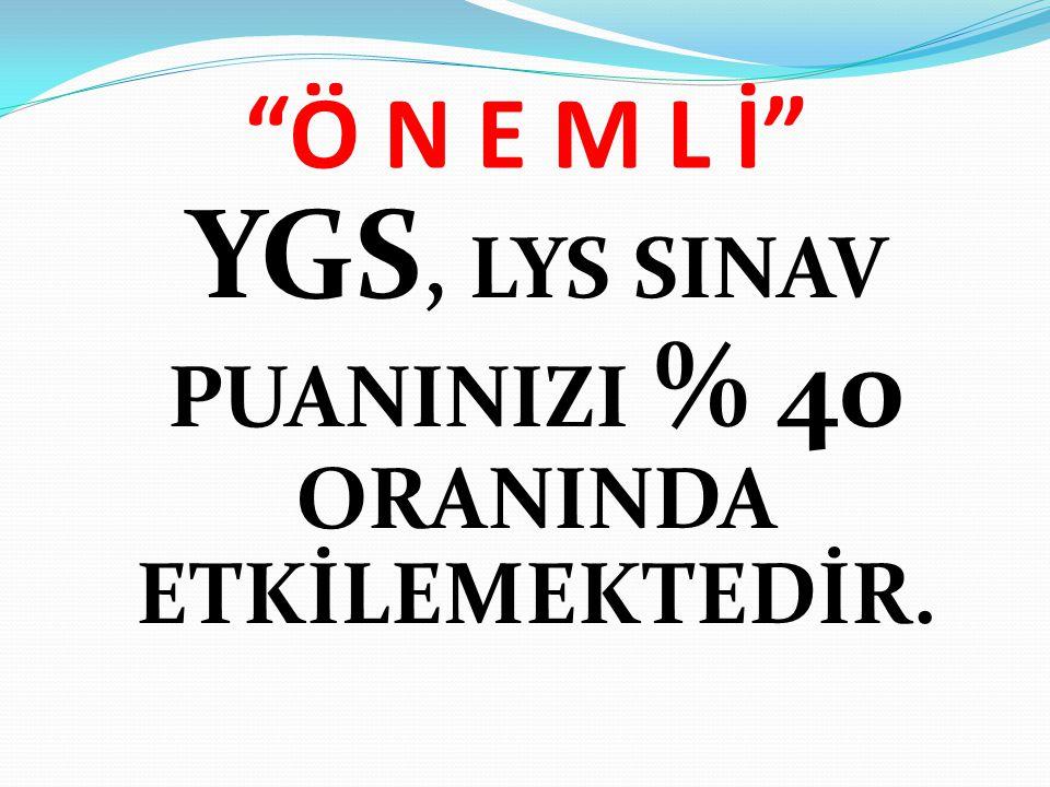 """Ö N E M L İ"" YGS, LYS SINAV PUANINIZI % 40 ORANINDA ETKİLEMEKTEDİR."