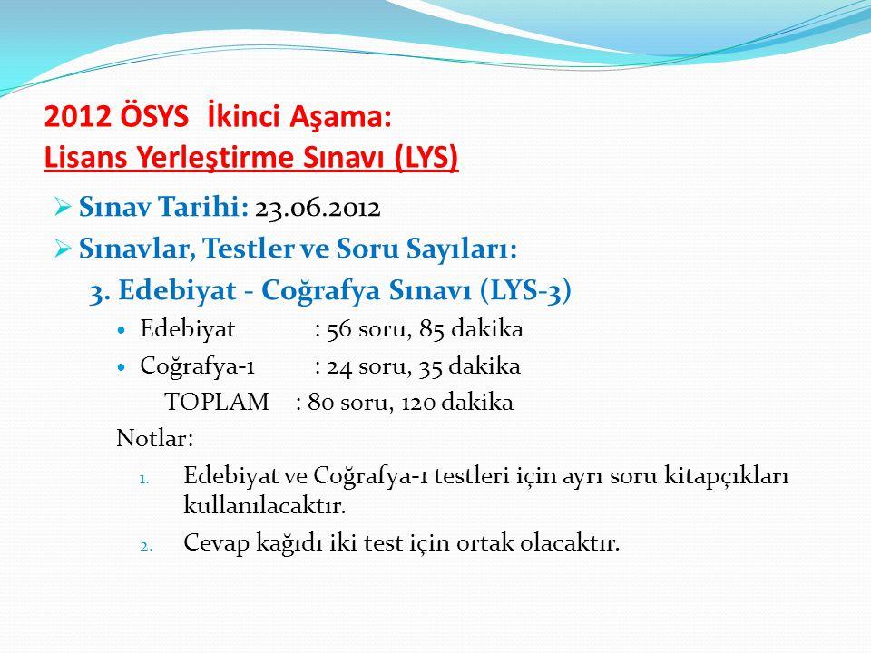 2012 ÖSYS İkinci Aşama: Lisans Yerleştirme Sınavı (LYS)  Sınav Tarihi: 23.06.2012  Sınavlar, Testler ve Soru Sayıları: 3.