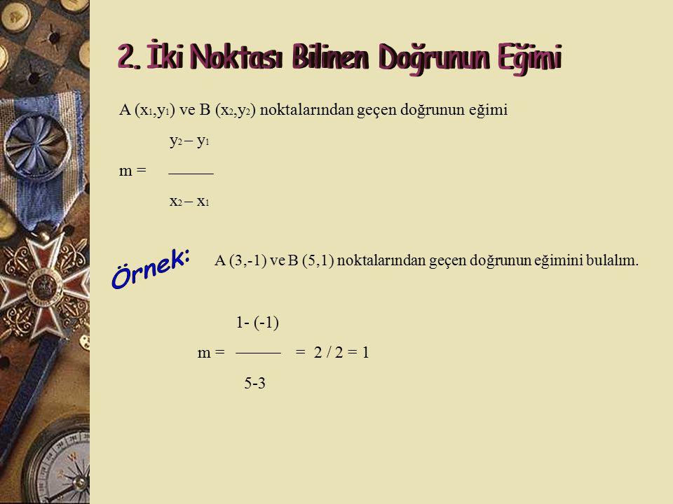 Bir doğrunun x ekseni ile yaptığı pozitif yönlü açının tanjantına o doğrunun eğimi denir. Eğim ''m'' ile gösterilir.  Tan  = m = b / a dır. Not : y=