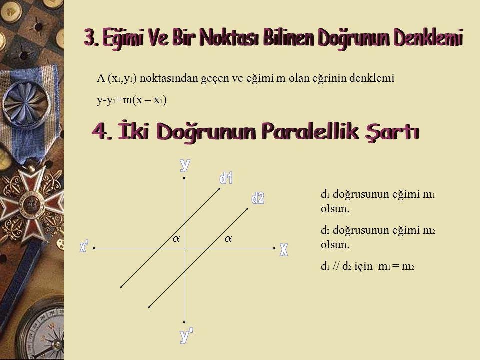 A (x 1,y 1 ) ve B (x 2,y 2 ) noktalarından geçen doğrunun eğimi y 2 – y 1 m = x 2 – x 1 A (3,-1) ve B (5,1) noktalarından geçen doğrunun eğimini bulal