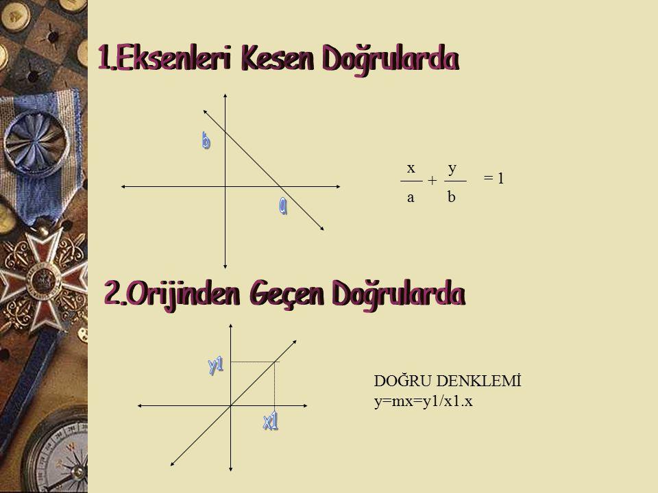 Eğimleri çarpımı (-1) olan doğrular birbirine diktir. d 1 doğrusunun eğimi m 1 olsun, d 2 doğrusunun eğimi m 2 olsun, m 1. m 2 = -1 ise d 1  d 2 Bir