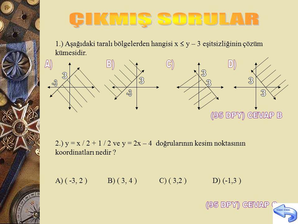2y-x+3=0 doğrusuna paralel ve A (-3,1) noktasından geçen doğrunun denklemini bulunuz? a) y= x+1 b) y=x/2 +1 c) y=x/2 +1/2 d) y=x/2 +5/2 2y=1/2.x –3/2