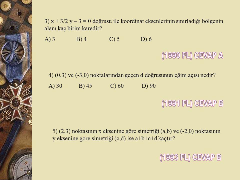 1.) Aşağıdaki taralı bölgelerden hangisi x  y – 3 eşitsizliğinin çözüm kümesidir. 2.) y = x / 2 + 1 / 2 ve y = 2x – 4 doğrularının kesim noktasının k