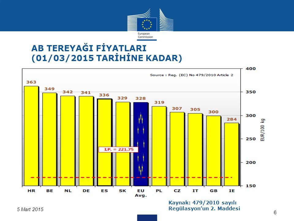 Kaynak:562/2005 ve 479/2010 sayılı Regülasyon kapsamında üye ülkelerden alınan bilgiler 5 Mart 2015 AB Süt İşletmeleri Kotasyonları 7 (Üye ülkelerden alınan bilgilere göre AB ortalamaları ve üretim miktarları)