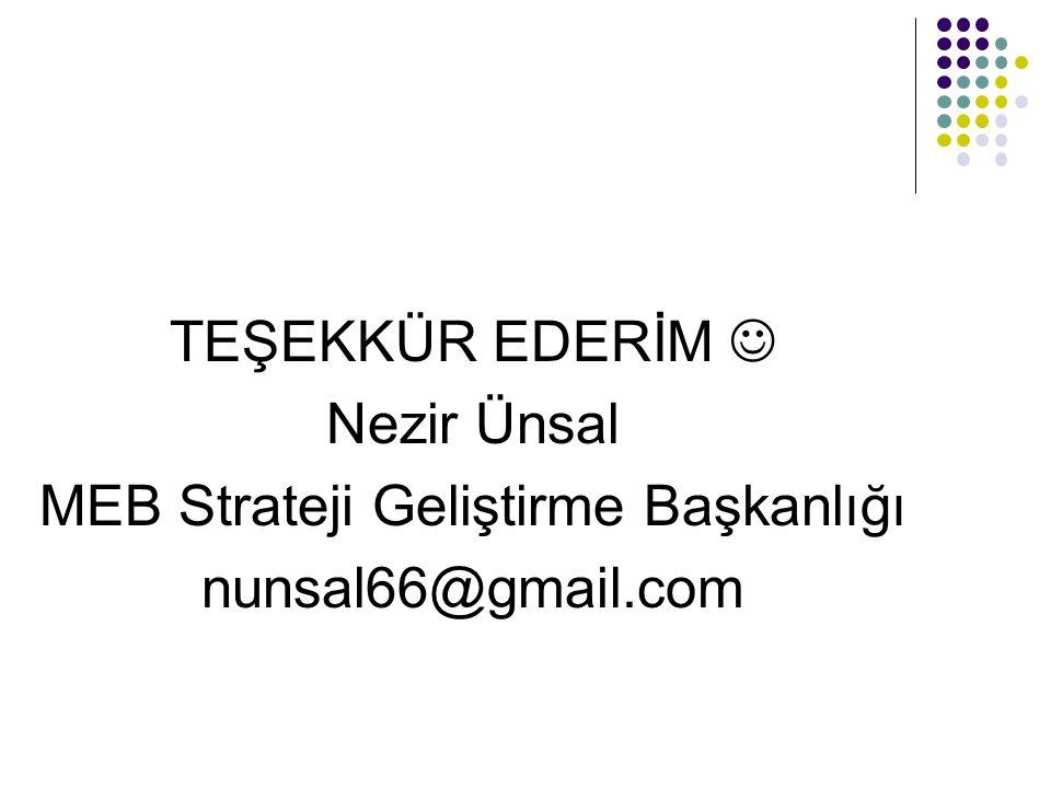 TEŞEKKÜR EDERİM Nezir Ünsal MEB Strateji Geliştirme Başkanlığı nunsal66@gmail.com