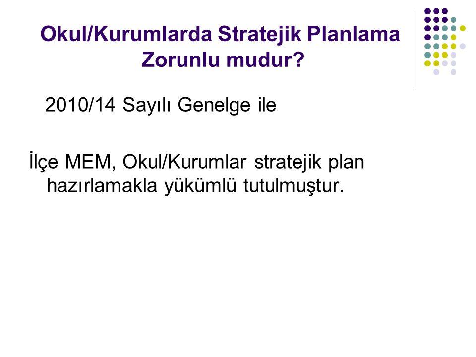 Okul/Kurumlarda Stratejik Planlama Zorunlu mudur? 2010/14 Sayılı Genelge ile İlçe MEM, Okul/Kurumlar stratejik plan hazırlamakla yükümlü tutulmuştur.