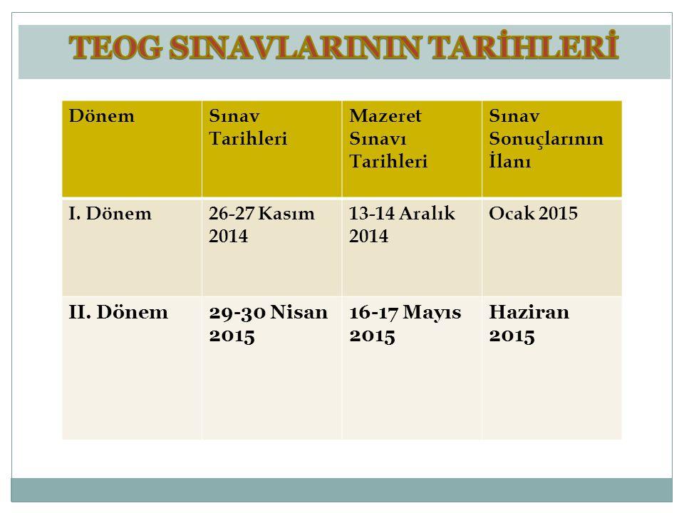 DönemSınav Tarihleri Mazeret Sınavı Tarihleri Sınav Sonuçlarının İlanı I. Dönem26-27 Kasım 2014 13-14 Aralık 2014 Ocak 2015 II. Dönem29-30 Nisan 2015