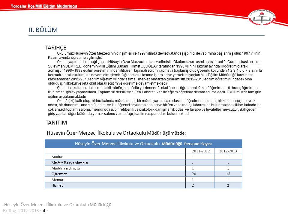 Hüseyin Özer Merzeci İlkokulu ve Ortaokulu Müdürlüğümüzde: Hüseyin Özer Merzeci İlkokulu ve Ortaokulu Müdürlüğü Personel Sayısı 2011-20122012-2013 Müd