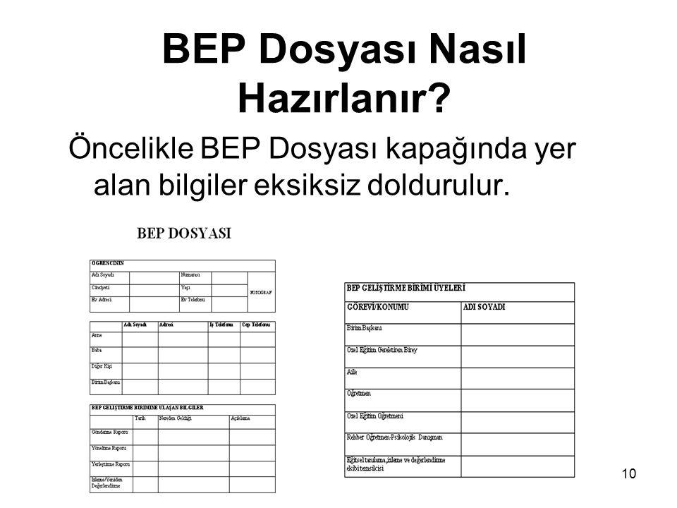 BEP Dosyası Nasıl Hazırlanır? Öncelikle BEP Dosyası kapağında yer alan bilgiler eksiksiz doldurulur. 10