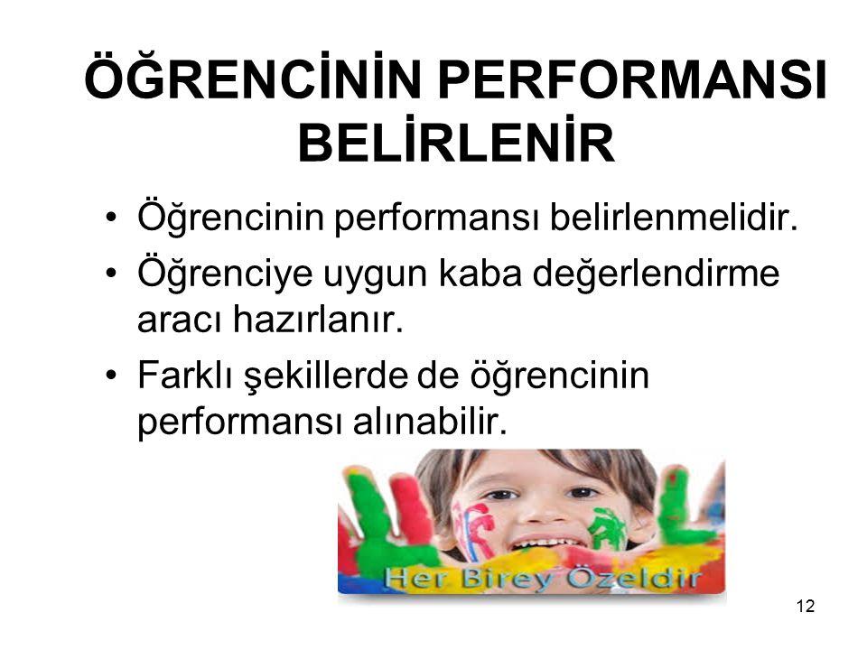 Öğrencinin performansı belirlenmelidir. Öğrenciye uygun kaba değerlendirme aracı hazırlanır. Farklı şekillerde de öğrencinin performansı alınabilir. Ö
