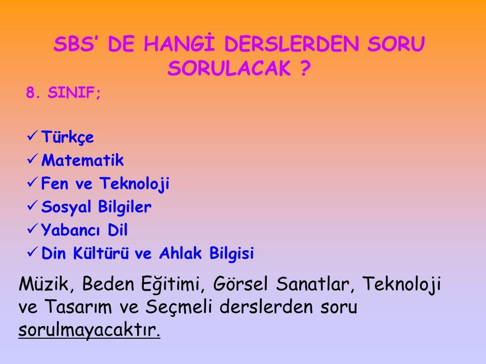 SBS' DE HANGİ DERSLERDEN SORU SORULACAK .8.