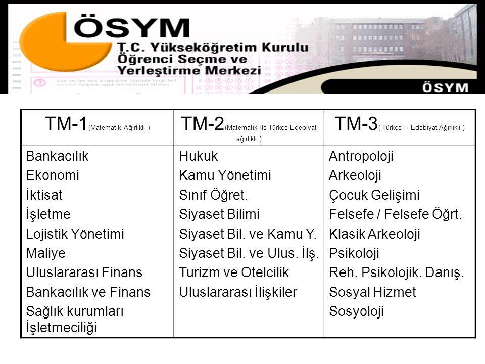 TM-1 (Matematik Ağırlıklı ) TM-2 (Matematik ile Türkçe-Edebiyat ağırlıklı ) TM-3 ( Türkçe – Edebiyat Ağırlıklı ) Bankacılık Ekonomi İktisat İşletme Lo