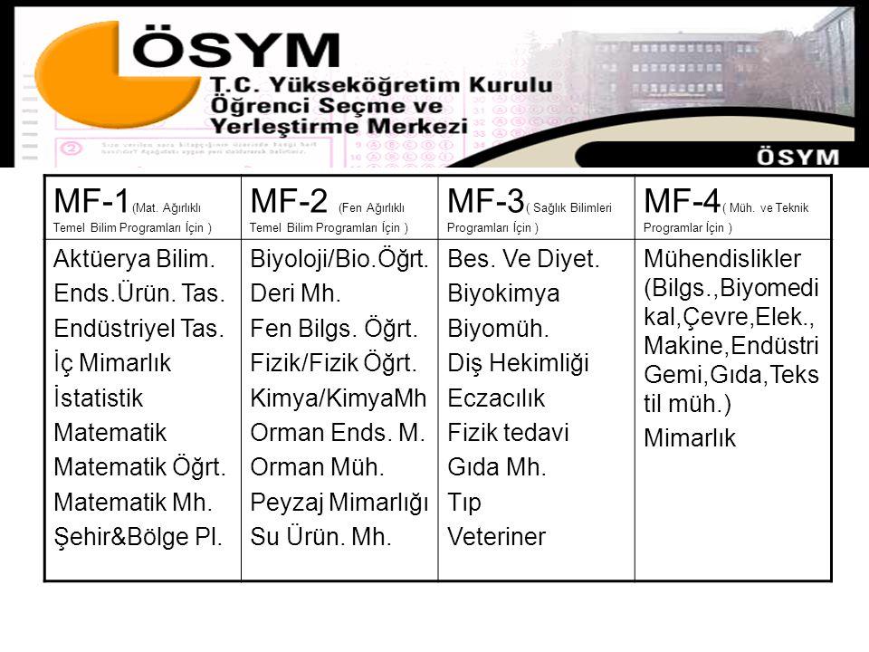 MF-1 (Mat. Ağırlıklı Temel Bilim Programları İçin ) MF-2 (Fen Ağırlıklı Temel Bilim Programları İçin ) MF-3 ( Sağlık Bilimleri Programları İçin ) MF-4