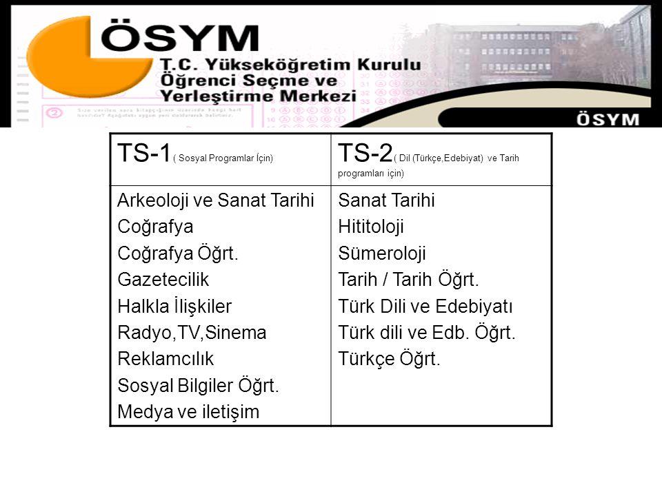 TS-1 ( Sosyal Programlar İçin) TS-2 ( Dil (Türkçe,Edebiyat) ve Tarih programları için) Arkeoloji ve Sanat Tarihi Coğrafya Coğrafya Öğrt. Gazetecilik H