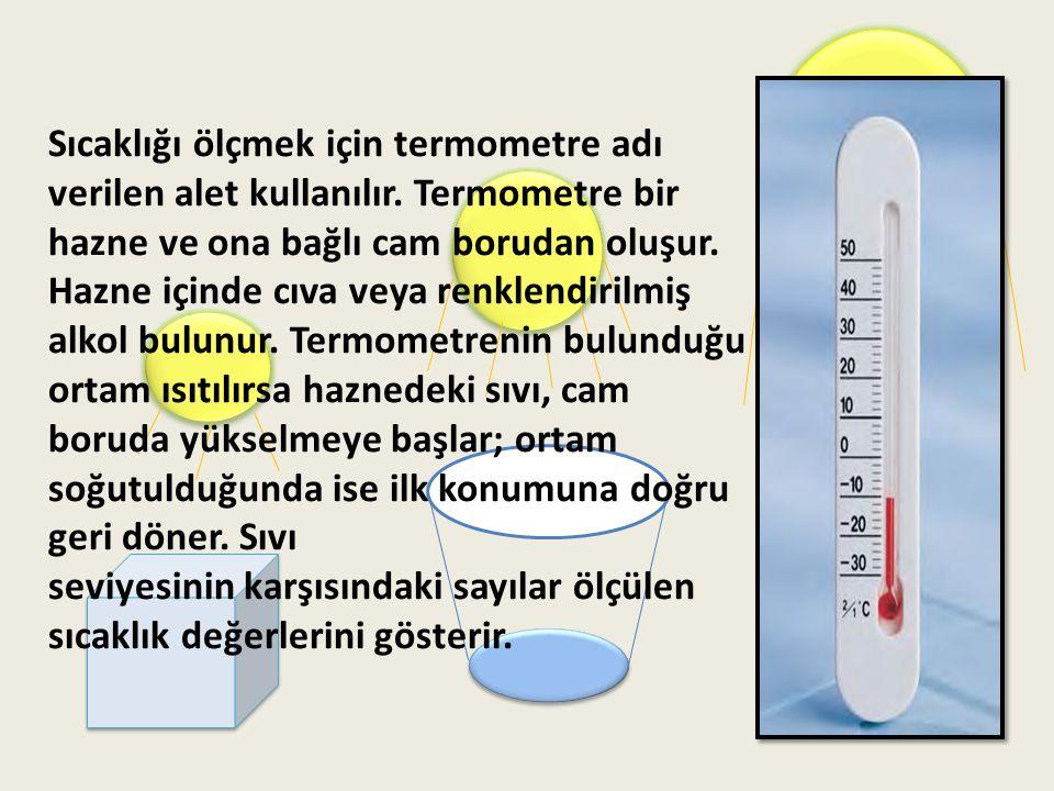 Termometre ile havanın, vücudun vb.maddelerin sıcaklığını ölçebiliriz.