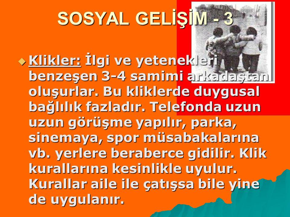 SOSYAL GELİŞİM - 3  Klikler: İlgi ve yetenekleri benzeşen 3-4 samimi arkadaştan oluşurlar.