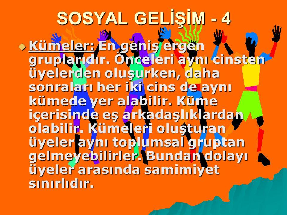 SOSYAL GELİŞİM - 4  Kümeler: En geniş ergen gruplarıdır. Önceleri aynı cinsten üyelerden oluşurken, daha sonraları her iki cins de aynı kümede yer al