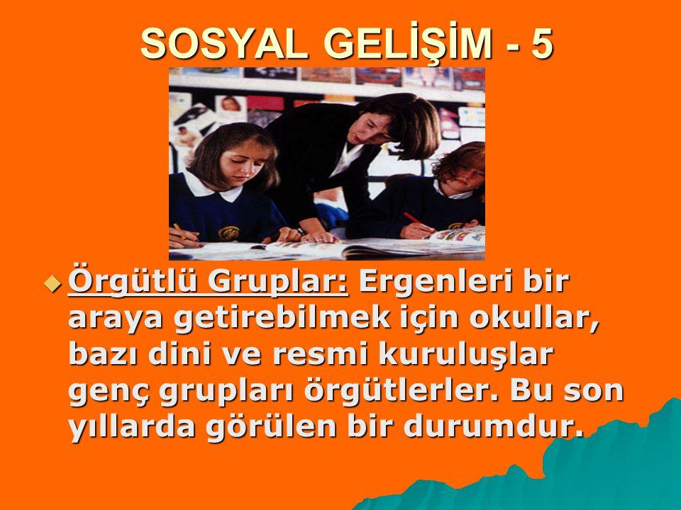 SOSYAL GELİŞİM - 5  Örgütlü Gruplar: Ergenleri bir araya getirebilmek için okullar, bazı dini ve resmi kuruluşlar genç grupları örgütlerler. Bu son y