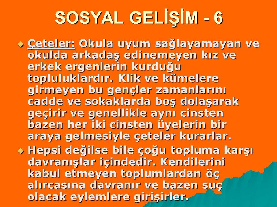 SOSYAL GELİŞİM - 6  Çeteler: Okula uyum sağlayamayan ve okulda arkadaş edinemeyen kız ve erkek ergenlerin kurduğu topluluklardır. Klik ve kümelere gi