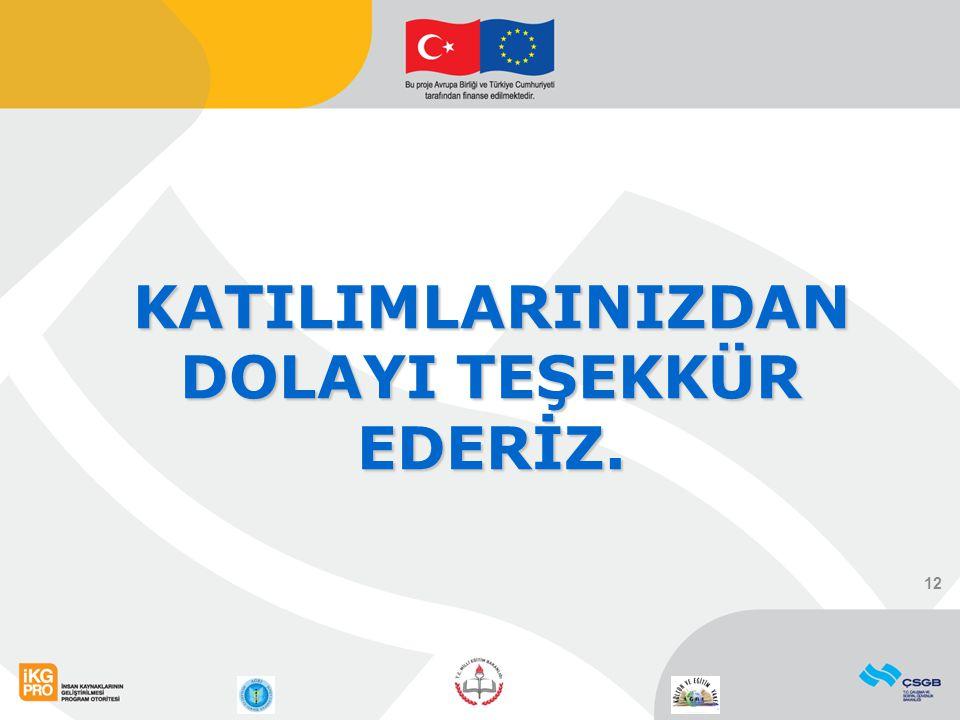 KATILIMLARINIZDAN DOLAYI TEŞEKKÜR EDERİZ. 12