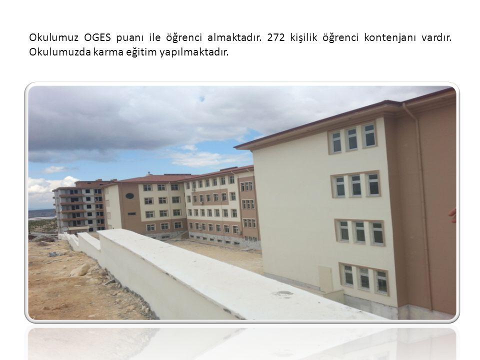 Okulumuz OGES puanı ile öğrenci almaktadır. 272 kişilik öğrenci kontenjanı vardır. Okulumuzda karma eğitim yapılmaktadır.