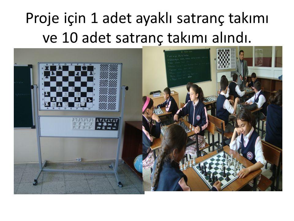 Proje için 1 adet ayaklı satranç takımı ve 10 adet satranç takımı alındı.